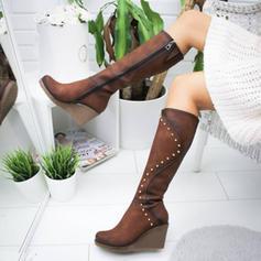 Dla kobiet Zamsz Obcas Koturnowy Kozaki do kolan Z Nit obuwie
