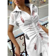 Print Short Sleeves Sheath Above Knee Casual Shirt Dresses