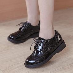Frauen Kunstleder Flascher Absatz Flache Schuhe Geschlossene Zehe mit Zuschnüren Schuhe