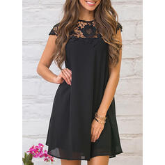 Lace/Solid Cap Sleeve Shift Above Knee Casual Dresses