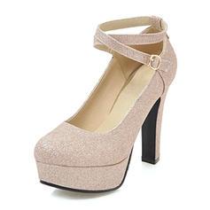Femmes PU Talon bottier Escarpins Plateforme avec Paillette chaussures