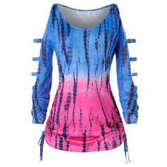 Imprimeu bağlama boyası Soğuk omuz Mâneci Lungi gündelik Büyük beden ÜST Bluzlar