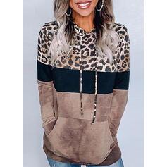 Print Color Block Leopard Hoodie Long Sleeves Casual Blouses