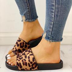 Vrouwen PU Flat Heel Sandalen Peep Toe Slippers met Dier Afdrukken schoenen