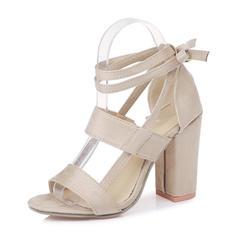 Femmes Suède Talon bottier Sandales Escarpins avec Dentelle Ouvertes chaussures