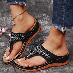 ПУ Танкетка Сандалі В'єтнамки Тапочки з Сіяючі камені Суцільний колір взуття