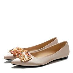 Frauen Seide Flascher Absatz Geschlossene Zehe Flache Schuhe mit Kristall