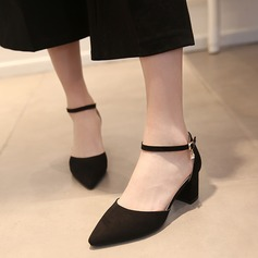 Dla kobiet Zamsz Obcas Slupek Sandały Czólenka Zakryte Palce Z Klamra obuwie