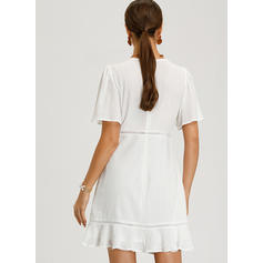 Solid Short Sleeves A-line Above Knee Casual/Elegant Dresses