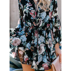Print/Floral Long Sleeves/Lantern Sleeve A-line Above Knee Casual Dresses