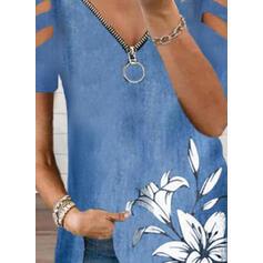 Nadruk Kwiatowy Odkryte ramię Krótkie rękawy Casual Bluzki