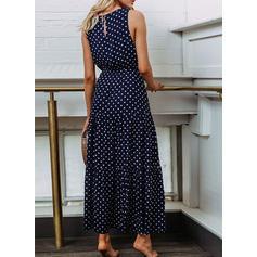 Gepunktet Ärmellos A-Linien Freizeit Maxi Kleider