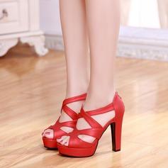 Bayanlar suni deri Topuklu ayakkabı Sandalet Pompalar Peep Toe Ile Fermuar ayakkabı