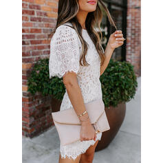 Lace/Solid Short Sleeves Bodycon Above Knee Casual/Elegant Dresses