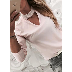 Solid Beaded Round Neck Long Sleeves Casual Blouses