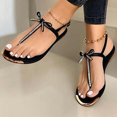 Women's PU Flat Heel Sandals Flip-Flops With Bowknot shoes
