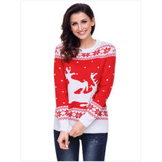 33e503df110e ... Polyester Round Neck Color Block Animal Print Ugly Christmas Sweater ...