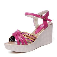 Frauen PVC Keil Absatz Sandalen Keile Peep Toe Slingpumps mit Geflochtenes Band Schuhe