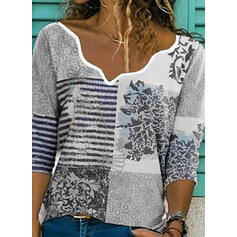 Print Patchwork Striped V-Neck 3/4 Sleeves Casual Blouses