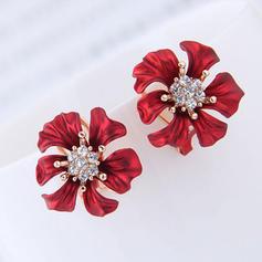Flower Shaped Alloy Rhinestones With Rhinestone Women's Fashion Earrings (Set of 2)