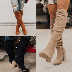 Women's PU Chunky Heel Knee High Boots With Zipper shoes