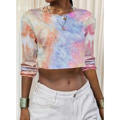 Tie Dye Rundhalsausschnitt Lange Ärmel T-Shirts