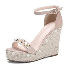 Women's Leatherette Wedge Heel Sandals Platform Wedges Peep Toe With Pearl Rivet shoes