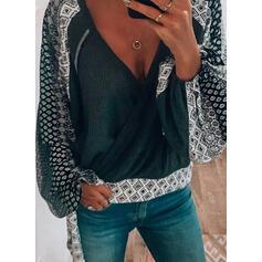 Εκτύπωση V-λαιμός Μακρυμάνικο Καθημερινό Блузи