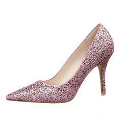 Dla kobiet Skóra ekologiczna Szpilki Zamknięty Toe Pompy Z Sparkling Glitter