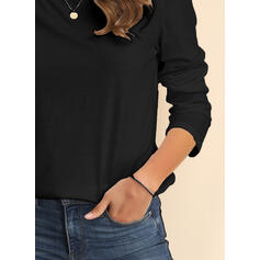 Solid Boat Neck Casual Knit Tops