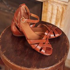 Femmes PU Talon plat Sandales Chaussures plates avec Boucle Lanière tressé chaussures