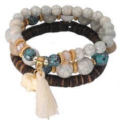 Chic Alliage Imitation turquoise Argent plaqué Perles en bois Dames Bracelets de mode