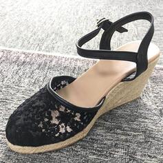 De mujer PU Tipo de tacón Sandalias Cuñas Encaje Tacones con Hebilla zapatos