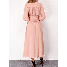 Solid Mâneci Lungi Bir Çizgi Patenci gündelik Midi Elbiseler