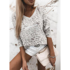 Print Leopard Figure V-Neck Long Sleeves Casual Blouses