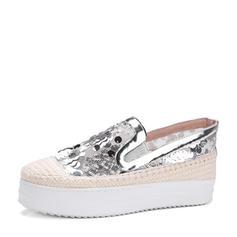 Femmes PU Talon compensé Chaussures plates Bout fermé Compensée avec Paillette chaussures
