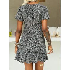 Print/Floral Short Sleeves A-line Above Knee Casual/Elegant Skater Dresses