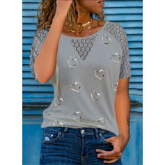 Print Lace Heart Round Neck Short Sleeves Casual Blouses