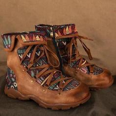 Frauen PU Flascher Absatz Stiefel mit Reißverschluss Zuschnüren Zweiteiliger Stoff Schuhe