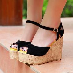 Femmes Suède Talon compensé Sandales Compensée À bout ouvert avec Boucle chaussures