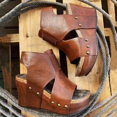 サンダル ウェッジ ピープトウ かかと ラウンドトゥ とともに くり抜いた ソリッドカラー 靴