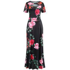 Print/Floral Short Sleeves A-line Casual/Elegant Maxi Dresses