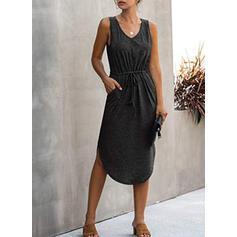 Sólido Sem mangas Bainha Comprimento do joelho Vestido Preto/Casual/Férias Vestidos