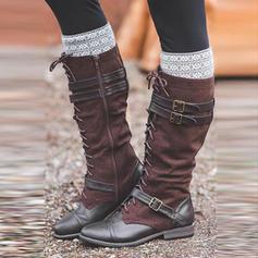 Női PU Alacsony sarok Csizma -Val Csat Lace-up cipő