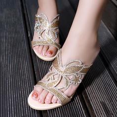 Femmes Similicuir Talon compensé Sandales avec Strass Ouvertes chaussures