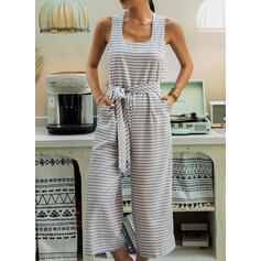 Striped U-Neck Sleeveless Casual Jumpsuit