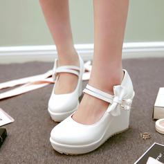 Femmes PU Talon compensé Plateforme Compensée avec Bowknot chaussures