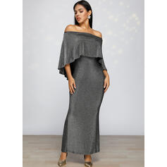 Sequins/Solid 1/2 Sleeves Bodycon Pencil Party/Elegant Maxi Dresses
