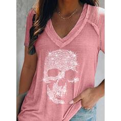 Imprimé Col V Manches Courtes T-shirts