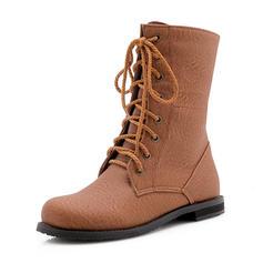Femmes Similicuir Talon plat Bottes Martin bottes avec Dentelle chaussures